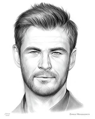 Drawings Royalty Free Images - Chris Hemsworth Royalty-Free Image by Greg Joens