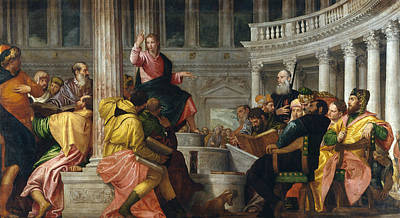 Jesus In The Temple Painting - Christ Among The Doctors In The Temple by Paolo Veronese