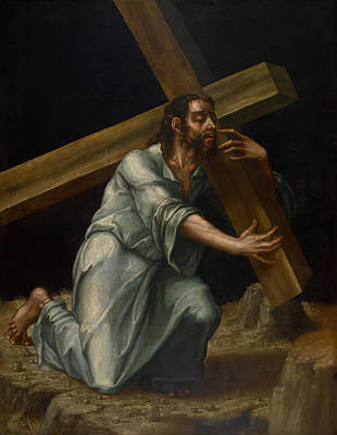 Christian Artwork Painting - Christ Carrying The Cross by Mountain Dreams
