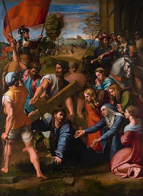 Cross Painting - Christ Falls On The Way To Calvary by Raffaello Sanzio
