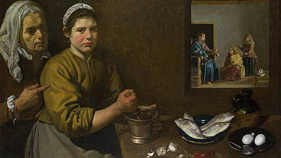 Seafood Painting - Christ In The House Of Martha And Mary by Diego Velazquez