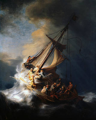 Christ In The Storm On The Lake Of Galilee Art Print by Rembrandt