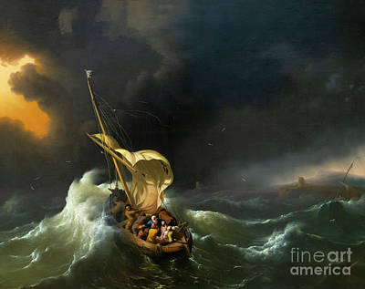 Christ In The Storm On The Sea Of Galilee Art Print by MotionAge Designs