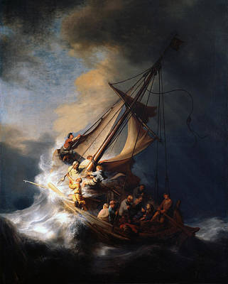 Netherlands Painting - Christ In The Storm On The Sea Of Galilee by Rembrandt van Rijn
