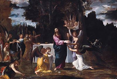 Painting - Christ In The Wilderness, Served By Angels by Ludovico Carracci