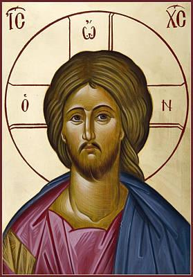 Byzantine Icon Painting - Christ Pantokrator by Julia Bridget Hayes
