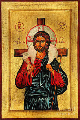 Black Gospel Painting - Christ The Good Shepherd by Ryszard Sleczka