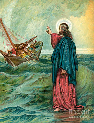 Ocean Scenes Drawing - Christ Walking On The Sea by English School