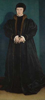 Swiss Painting - Christina Of Denmark Duchess Of Milan by Hans Holbein the Younger