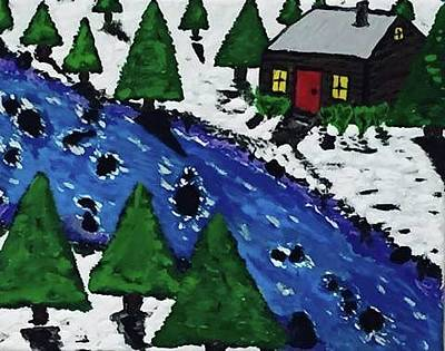 Christmas Card Canvas Art Original by Jonathon Hansen