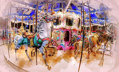 Digital Art - Christmas Carousel Watercolor by David Smith