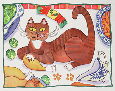 Christmas Cat And The Turkey Art Print by Cathy Baxter