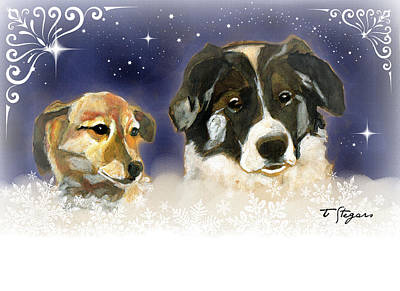 Painting - Christmas Doggies by Tarja Stegars