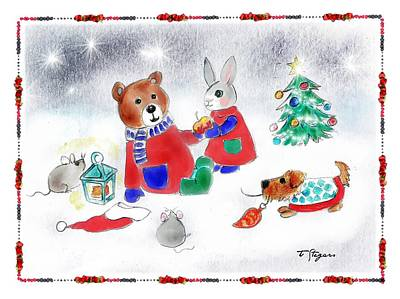 Painting - Christmas Friends by Tarja Stegars