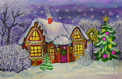Painting - Christmas House, Painting by Irina Afonskaya