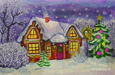 Painting - Christmas House, Painting by Irina Afonskaya