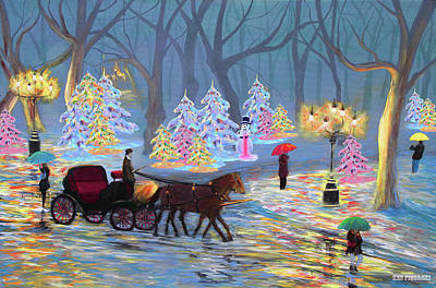 Outdoors Painting - Christmas In The Park by Ken Figurski