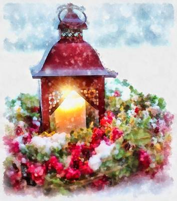 Gnomes Painting - Christmas Lamp by Esoterica Art Agency