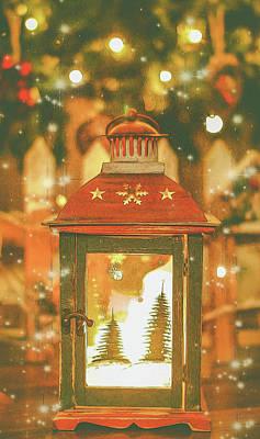 Christmas Lantern. Art Print by Angela Aird