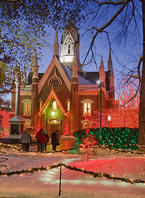 Photograph - Christmas Lights At Temple Square by Utah Images