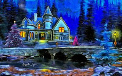 Fountain Painting - Christmas Night by Leonardo Digenio