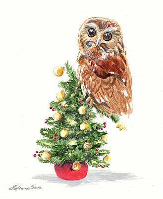 Painting - Christmas Owl by LeAnne Sowa