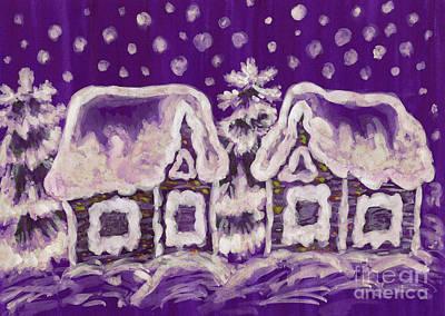 Painting - Christmas Picture On Crimson Background by Irina Afonskaya