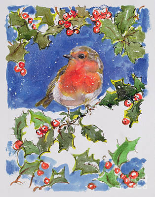 Seasons Greeting Painting - Christmas Robin by Diane Matthes