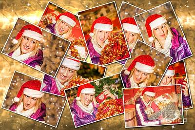 Photograph - Christmas Santa Claus Collage by Benny Marty