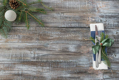 Photograph - Christmas Table Place Setting With Christmas Tree Branches Spoon by Julian Popov