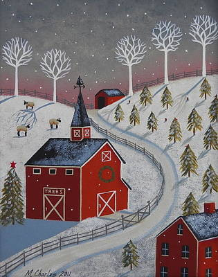 Covered Bridge Painting - Little Christmas Tree Farm by Mary Charles