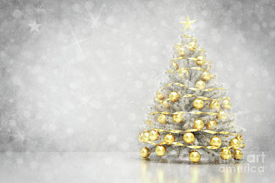 Photograph - Christmas Tree. Snowing And Glitter Background by Michal Bednarek