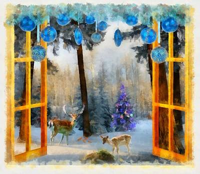 Gnomes Painting - Christmas Window by Esoterica Art Agency