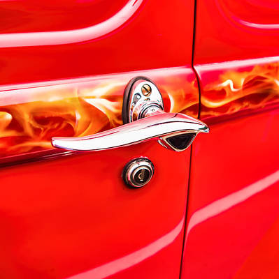 Photograph - Chromed Door Handle On Classic Custom Car by Jay Blackburn