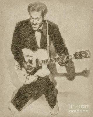 Rock Stars Drawing - Chuck Berry, Rock N Roll Star by Frank Falcon