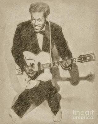 Fantasy Drawings - Chuck Berry, Rock n Roll Star by Frank Falcon