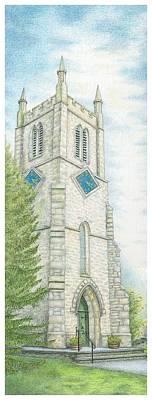 Church Bells Drawing - Church Clock by Sandra Moore