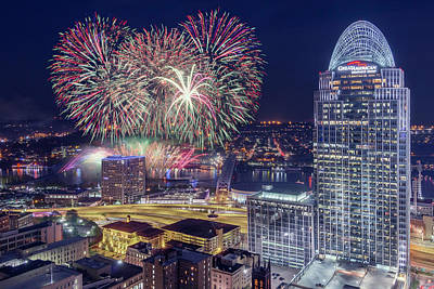 Photograph - Cincinnati Fireworks by Scott Meyer