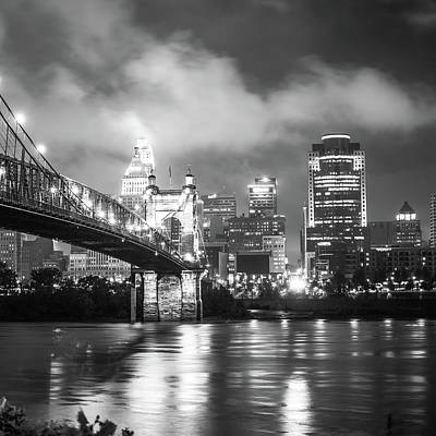 Photograph - Cincinnati Ohio Skyline Black And White 1x1 by Gregory Ballos