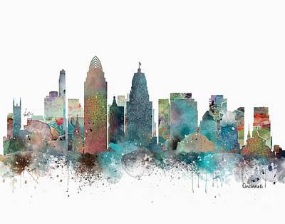 Ohio Painting - Cincinnati Ohio Skyline  by Bri B