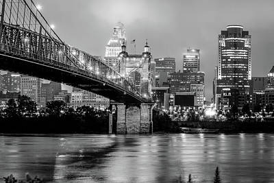 Photograph - Cincinnati Skyline And Bridge Art - Ohio Cityscape Photography Black And White by Gregory Ballos