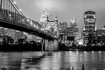 Photograph - Cincinnati Skyline And Bridge Art - Ohio Cityscape Photography Black And White by Gregory Ballos