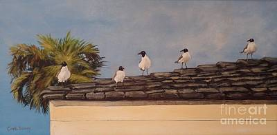 Painting - Cinco Seagulls by Carla Dabney