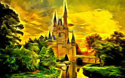 Military Base Painting - Cinderella Castle - Van Gogh Style by Leonardo Digenio