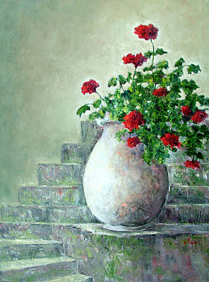 Painting - Cinque Terre Geraniums by Jill Musser