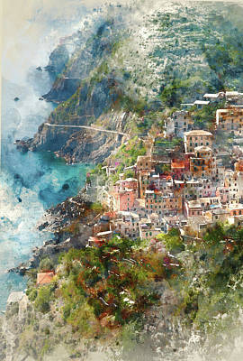 European City Digital Art - Cinque Terre In Italy by Brandon Bourdages