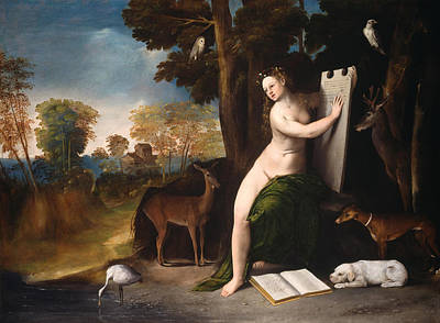 Dog In Landscape Painting - Circe And Her Lovers In A Landscape by Dosso Dossi