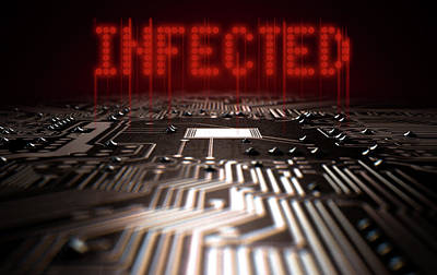 Macro Digital Art - Circuit Board Infected Text by Allan Swart