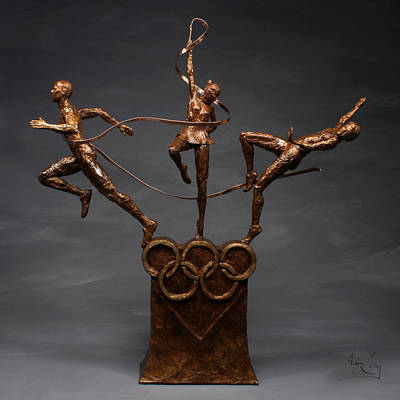 Athletes Mixed Media - Citius Altius Fortius Olympic Art on gray by Adam Long