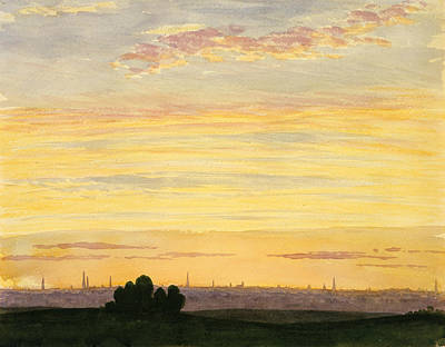 Drawing - City And Sunset by Henry Farrer